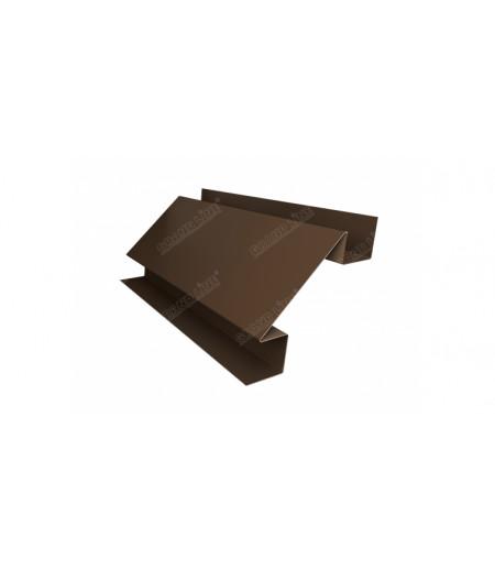 Планка угла внутреннего сложного Экобрус 0,5 Satin с пленкой RR 32 темно-коричневый