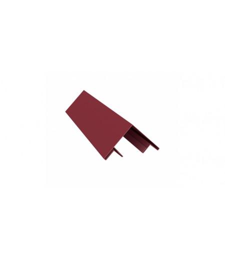 Планка угла внешнего составная верхняя 0,45 PE с пленкой RAL 3005 красное вино