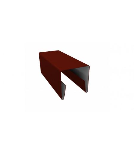 Планка П-образная заборная 20 0,45 PE с пленкой RAL 3009 оксидно-красный