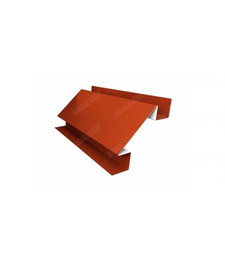 Планка угла внутреннего сложного Экобрус Grand Line 0,45 PE с пленкой RAL 2004 оранжевый